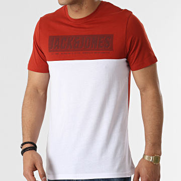 Jack And Jones - Tee Shirt Chimbal Rouge Brique Blanc