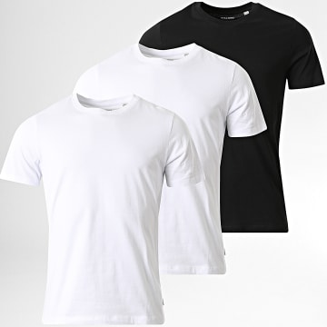 Jack And Jones - Lot de 3 Tee Shirts Basic Organic Blanc Noir