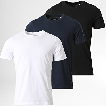 Jack And Jones - Lot de 3 Tee Shirts Basic Organic Bleu Marine Blanc Noir
