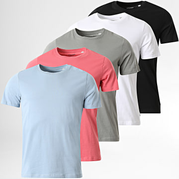 Jack And Jones - Lot de 5 Tee Shirts Basic Organic Blanc Noir Rose Bleu Gris
