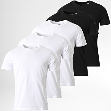 Jack And Jones - Lot de 5 Tee Shirts Basic Organic Blanc Noir