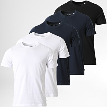 Jack And Jones - Lot de 5 Tee Shirts Bleu Marine Blanc Noir