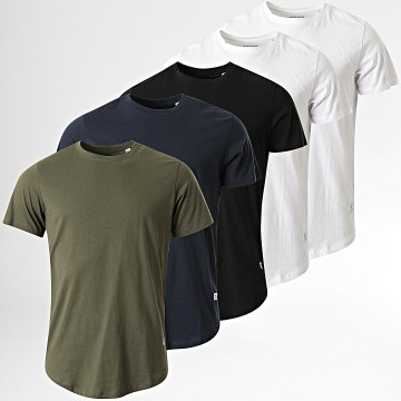 Jack And Jones - Lot de 5 Tee Shirts Oversize Noa Blanc Noir Bleu Marine Vert Kaki