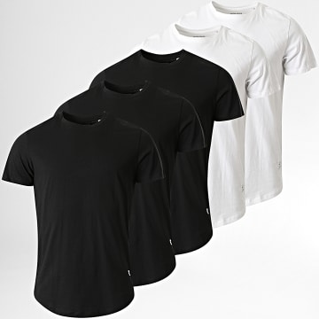 Jack And Jones - Lot de 5 Tee Shirts Oversize Noa Noir Blanc