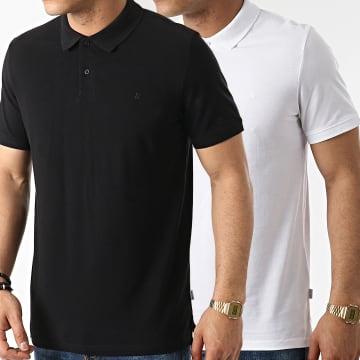 Jack And Jones - Lot De 2 Polos Manches Courtes Basic Blanc Noir