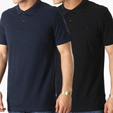 Jack And Jones - Lot De 2 Polos Manches Courtes Basic Bleu Marine Noir