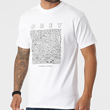 Obey - Tee Shirt Obey Creative Dissent Blanc