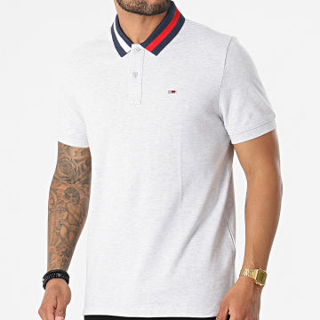 Tommy Jeans - Polo Manches Courtes Flag Neck 6576 Gris Chiné