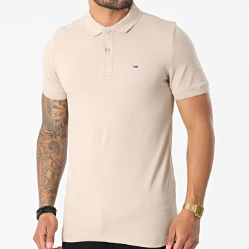 Tommy Jeans - Polo Manches Courtes Classic Solid Stretch 9439 Beige Taupe