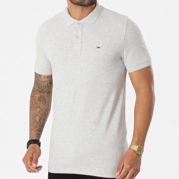 Tommy Jeans - Polo Manches Courtes Classics Solid Stretch 9439 Gris Chiné