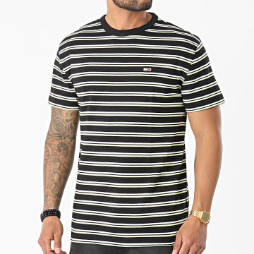 Tommy Jeans - Tee Shirt A Rayures Two Tones Classic 0264 Noir Jaune