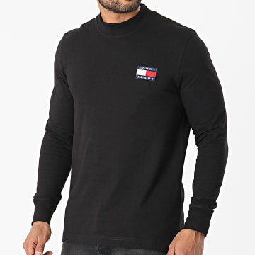 Tommy Jeans - Tee Shirt Manches Longues Badge Mock Neck 0281 Noir