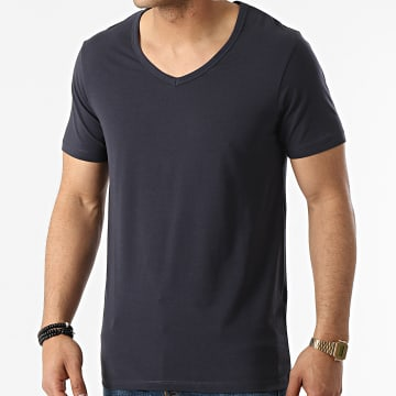 Jack And Jones - Tee Shirt Col V Basic Bleu Marine