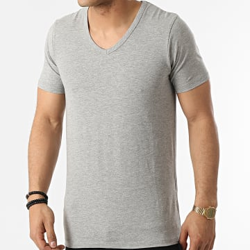 Jack And Jones - Tee Shirt Col V Basic Gris Chiné
