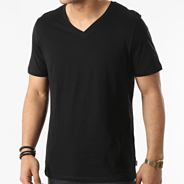 Jack And Jones - Tee Shirt Col V Plain Noir
