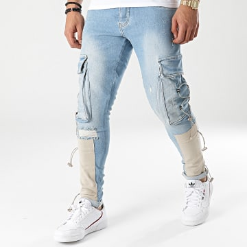 2Y Premium - Pantalon Cargo En Jean B5907 Bleu Denim