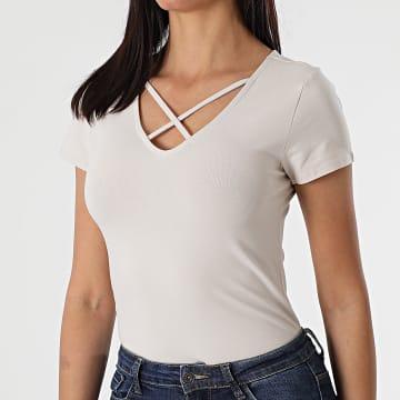 Only - Tee Shirt Femme Live Love Beige