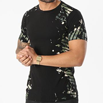 Berry Denim - Tee Shirt XP067 Noir Vert Kaki Camouflage