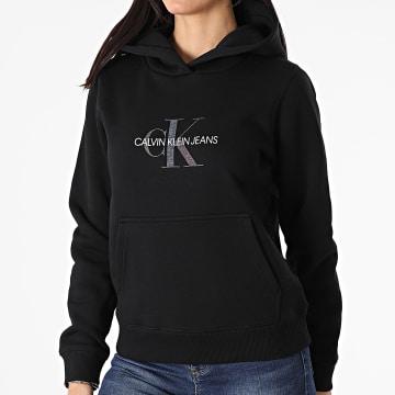 Calvin Klein - Sweat Capuche Femme Reflective Monogram 5267 Noir Iridescent