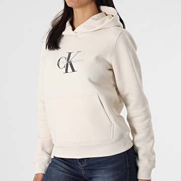 Calvin Klein - Sweat Capuche Femme Reflective Monogram 5267 Beige Iridescent