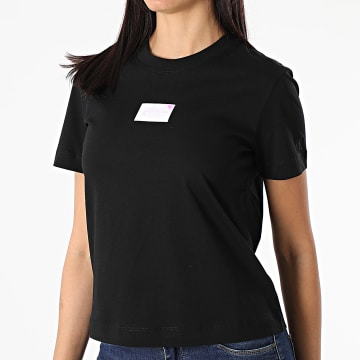 Calvin Klein - Tee Shirt Femme Shine Badge 6184 Noir Iridescent