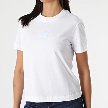 Calvin Klein - Tee Shirt Femme Shine Badge 6184 Blanc Iridescent