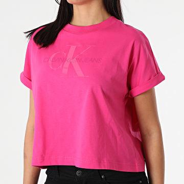 Calvin Klein - Tee Shirt Femme Tonal Monogram 6347 Rose Fuchsia
