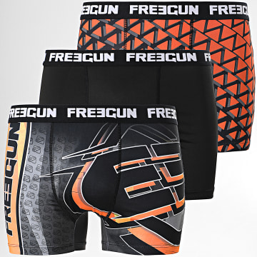 Freegun - Lot De 3 Boxers Brand Noir Orange