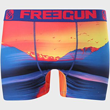Freegun - Boxer Sunset Bleu Marine Orange