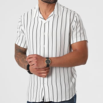 Aarhon - Chemise Manches Courtes A Rayures 4000 Blanc