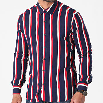 Aarhon - Chemise Manches Longues A Rayures 3004 Bleu Marine