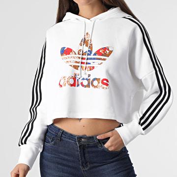 Adidas Originals - Sweat Capuche Femme Boxy GN3356 Blanc