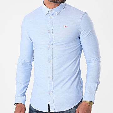 Tommy Jeans - Chemise Manches Longues Slim Stretch Oxford 9594 Bleu Ciel