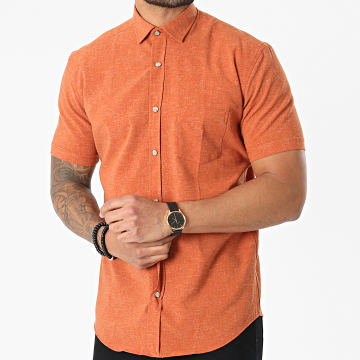 Black Needle - Chemise Manches Courtes 3516 Orange Chiné