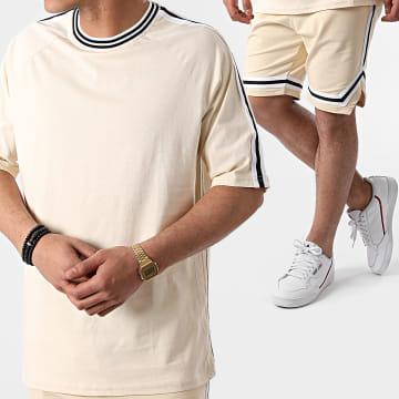 Ikao - Ensemble Short  Tee Shirt Oversize A Bandes LL388 Beige