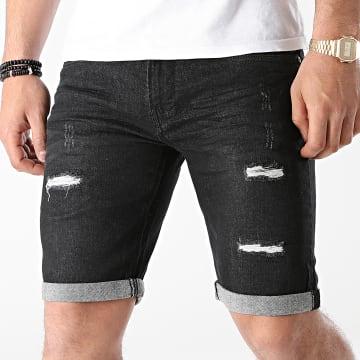 Indicode Jeans - Short Jean Slim Kaden Holes Noir