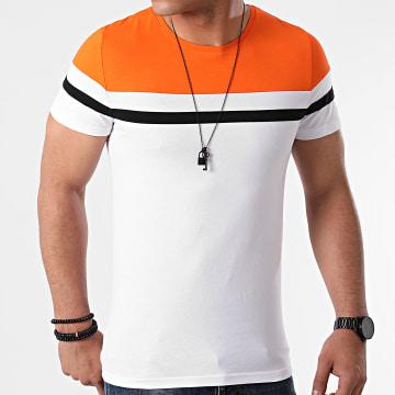LBO - Tee Shirt Tricolore 1632 Blanc Orange