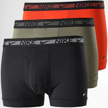 Nike - Lot De 3 Boxers Flex Micro KE1029 Noir Orange Vert Kaki