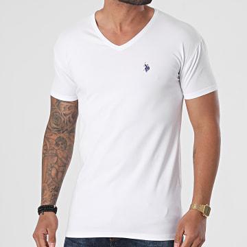 US Polo ASSN - Tee Shirt Col V Double Horse Blanc