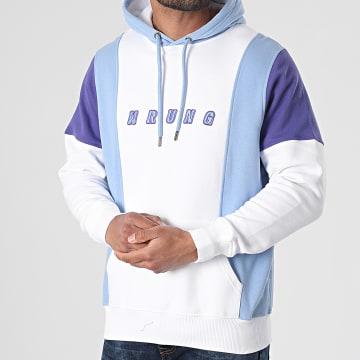 Wrung - Sweat Capuche Spring Block SS21-HO5 Blanc Bleu Violet