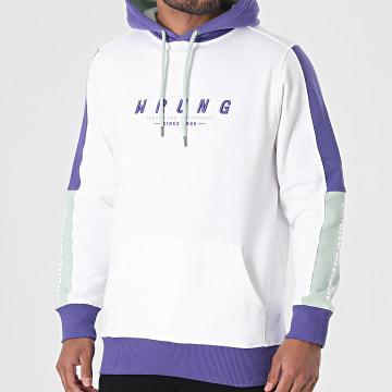 Wrung - Sweat Capuche A Bandes Web 3 SS21-HO8 Blanc Violet