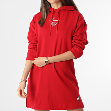 Tommy Hilfiger - Robe Sweat Capuche Femme 2865 Rouge