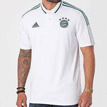 Adidas Performance - Polo Manches Courtes A Bandes FC Bayern GK8629 Blanc Vert