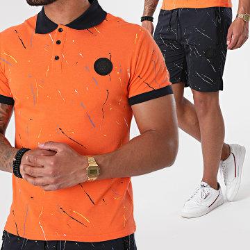 Zelys Paris - Ensemble Polo Short Jogging Stan Orange Bleu Marine