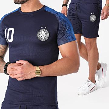 Zelys Paris - Ensemble Tee Shirt Short Jogging French Bleu Marine