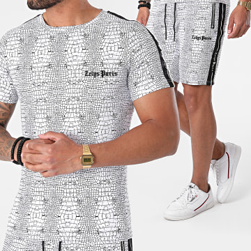 Zelys Paris - Ensemble Tee Shirt Short Jogging A Bandes Croc Blanc