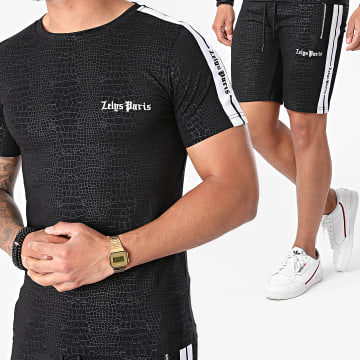 Zelys Paris - Ensemble Tee Shirt Short Jogging A Bandes Croc Noir