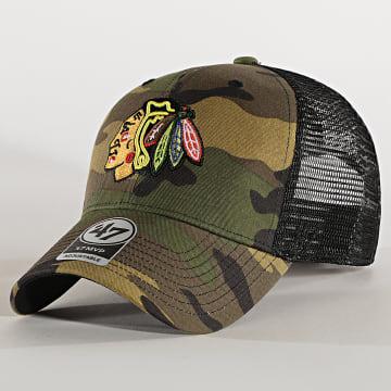 '47 Brand - Casquette Trucker MVP Adjustable CBRAN04GWP Chicago Blackhawks Camo Vert Kaki