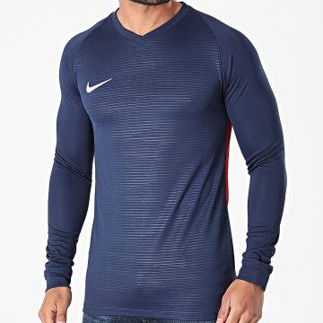 Nike - Tee Shirt De Sport Manches Longues Col V Tiempo Premier Bleu Marine Rouge