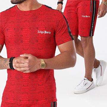 Zelys Paris - Ensemble Tee Shirt Short Jogging A Bandes Croc Rouge